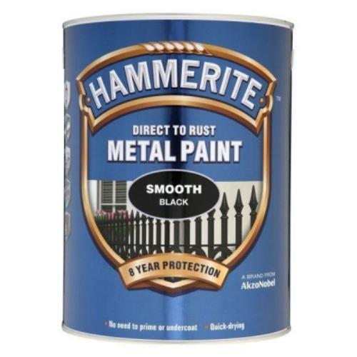 Hammerite SMOOTH BLACK Metal Paint 5 Litre 5084867 - HAM5084867.jpg